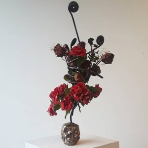 Bronze Skull with Crystalized Flowers
